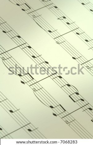 music note background, focus is set in the centre, shallow DOF - stock photo