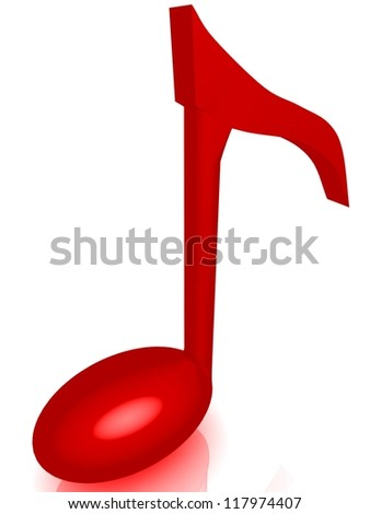 Music note 3D. Icon isolated on white background
