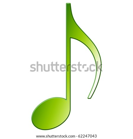 Music Note - eighth note - green color - stock photo