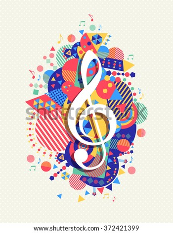 Music note g treble clef icon concept design with colorful geometry element background.  - stock photo