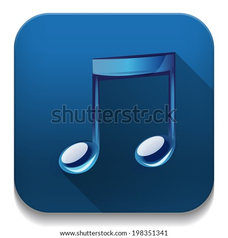 music note icon With long shadow over app button - stock photo