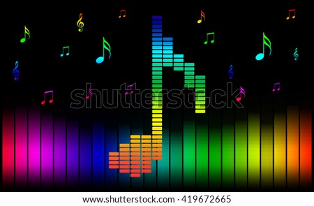 Music note on equalizer on black background. - stock photo