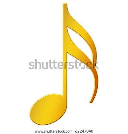 Music Note - sixteenth note - gold color - stock photo