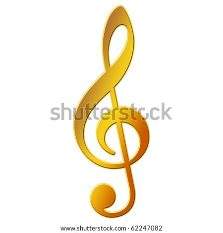 Music Note - treble clef - gold color - stock photo