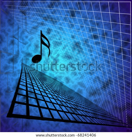 Music Note with Abstract Background - stock photo