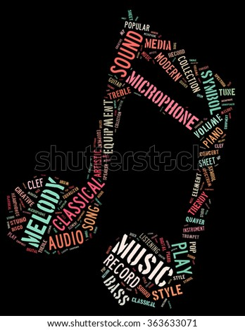 Music note, word cloud concept on black background.  - stock photo