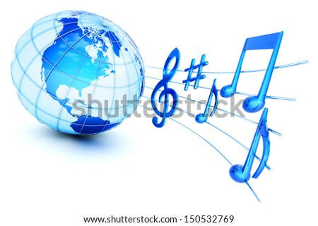 Music notes and globe isolated on white. Sound icon. Elements of this image furnished by NASA. - stock photo