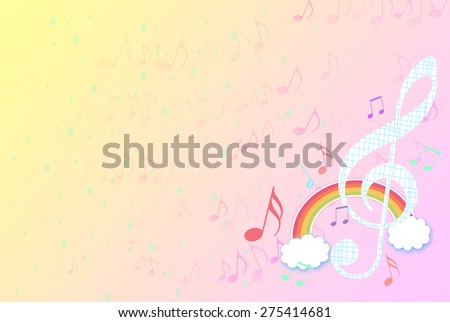 music notes drawing with colorful rainbow over pink orange background. Fun, artistic, festival, concert, spring, happy, party, music, musical, cartoon, digital idea background concept wallpaper - stock photo