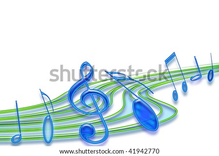 Music notes flowing on white background, Copy space.
