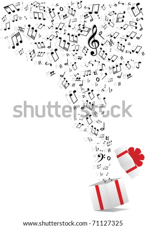 music notes from gift box - stock photo