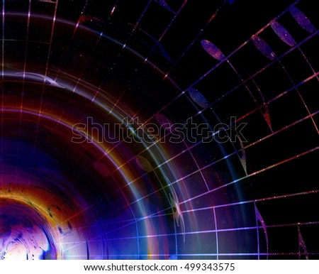 music notes in space with stars. abstract color background. Music concept.