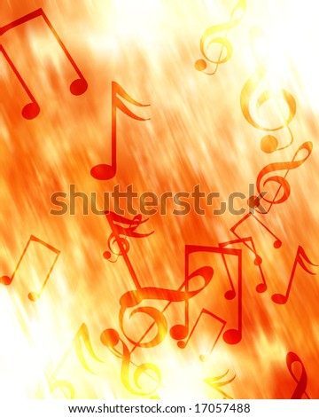 music notes on a fire like background