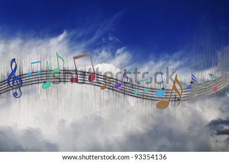 Music Notes on Cloudy Sky Background - stock photo