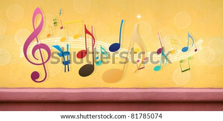 Music Notes on Concrete Wall (Extra-Wide Background) - stock photo