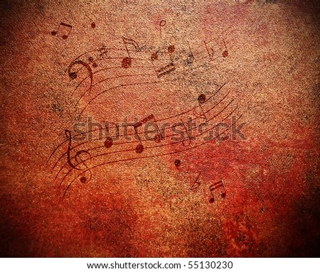 Music notes on grungy looking antique background - stock photo