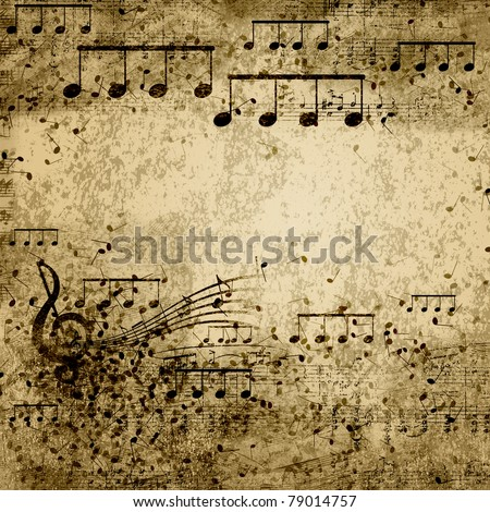 music notes on old paper sheet background - stock photo