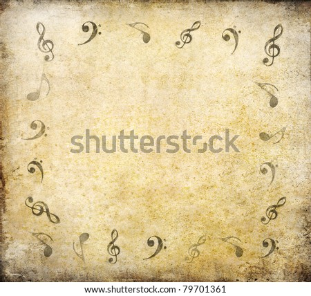 music notes on old paper sheet background with space - stock photo
