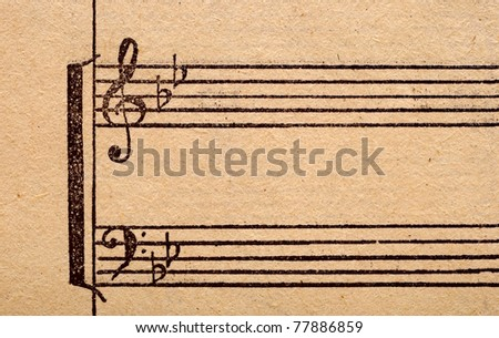 music notes on old paper sheet, to use for the background - stock photo