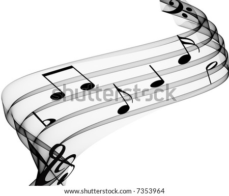 music notes on soft grey curves - stock photo