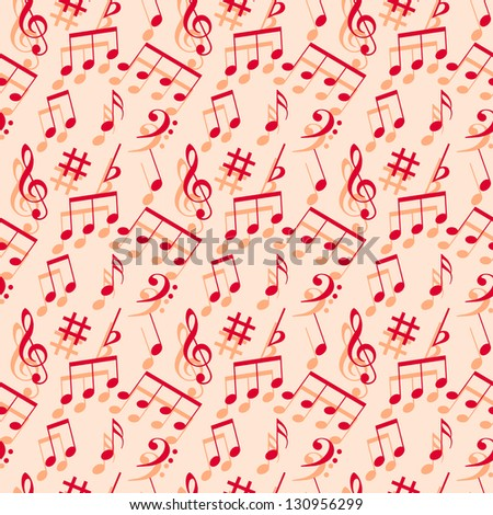 Music notes. Seamless wallpaper. - stock photo