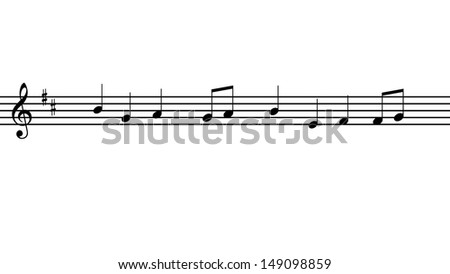 music notes with a simple melody - stock photo