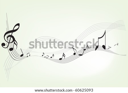 Music notes with clef on white