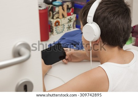 Music on smart phone  - stock photo