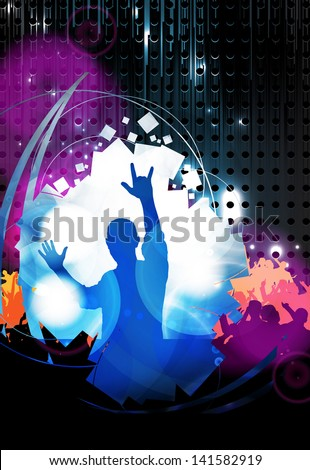 Music party. Dancing people - stock photo