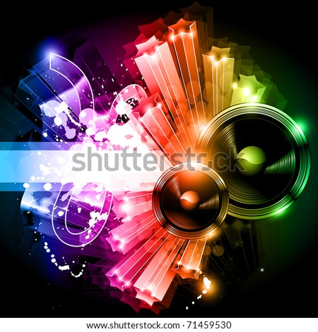 Music Party Disco Flyer with Exceptional Glow of lights - stock photo