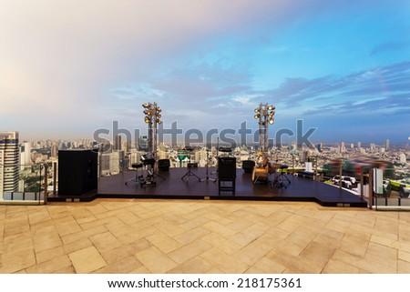 music platform at rooftop restaurant - stock photo