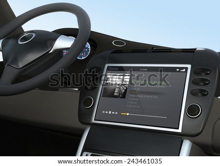 Music player app for car entertainment system - stock photo