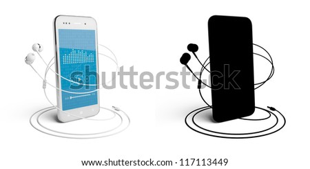 Music player. 3D model of the smartphone and headphones, isolated on white, with the mask.   Color - white. Screen with music player and reflections. - stock photo
