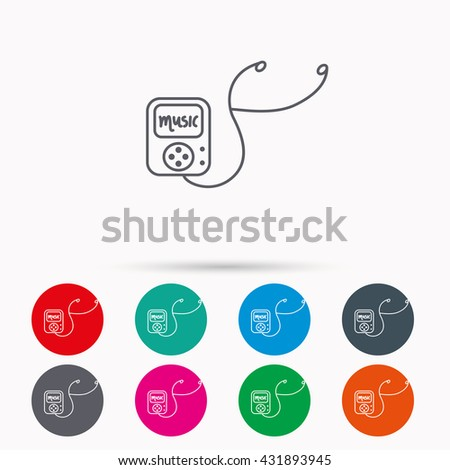 Music player icon. Songs portable device sign. Multimedia sound technology symbol. Linear icons in circles on white background. - stock photo