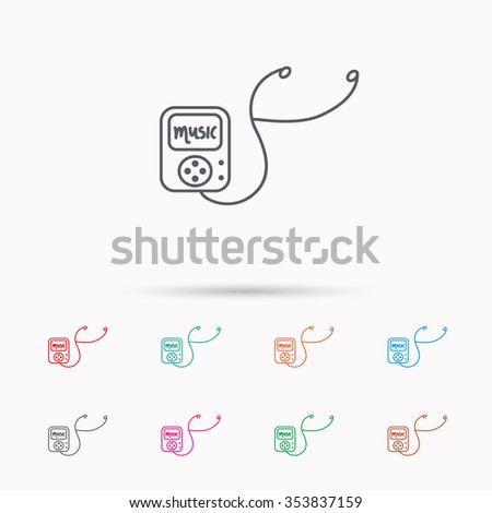 Music player icon. Songs portable device sign. Multimedia sound technology symbol. Linear icons on white background. - stock photo
