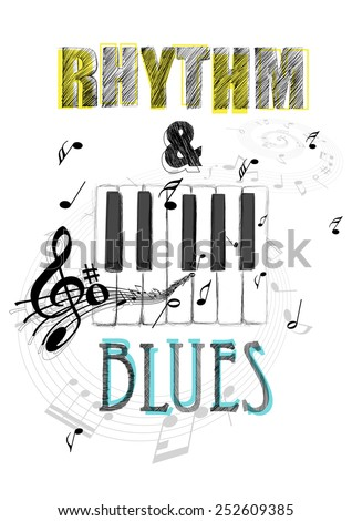Music poster print,artwork. - stock photo