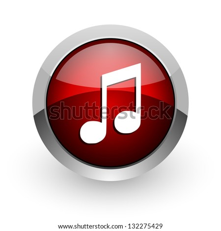 music red circle web glossy icon