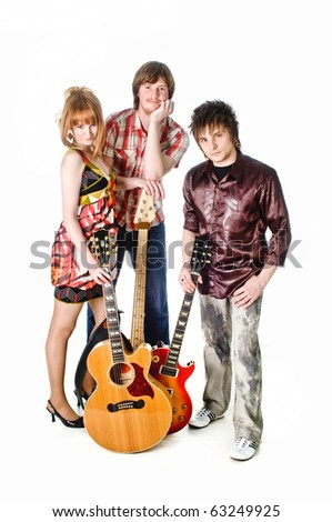 Music rock-band with guitars on isolated white background - stock photo
