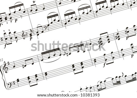 Music sheet from one of Mozart sonata - stock photo
