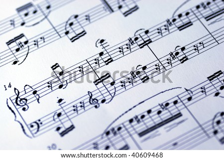 Music sheet on the white background - stock photo