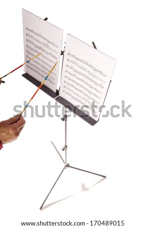 Music sheet stand with conductor - stock photo