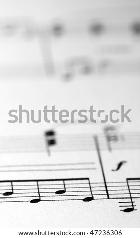 Music sheet with low depth of field - stock photo