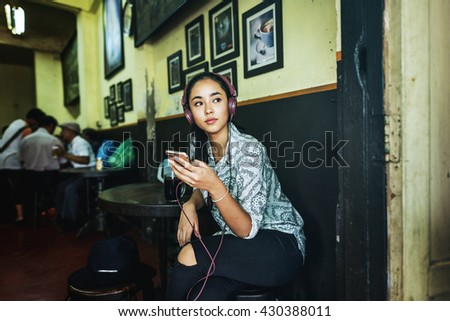 Music Song Playlist Listening Connection Girl Concept - stock photo