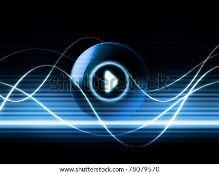music sound abstract concept showing audio waves propagation and play button icon - stock photo