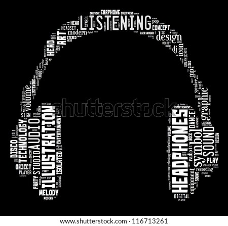 music & sound info-text graphics composed in headphone shape concept on black background