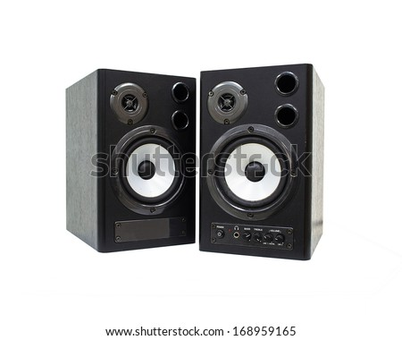 music speaker isolated on a white background - stock photo