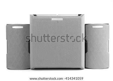 Music speakers, isolated on white - stock photo
