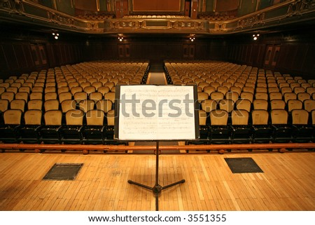 music stand and chairs in a theater,auditorium or opera - stock photo