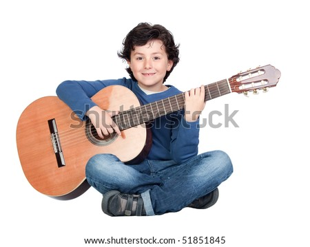 Music student playing the guitar isolated on a over white background - stock photo