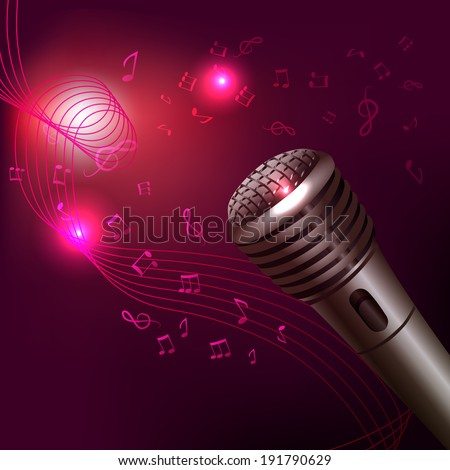 Music symbols background karaoke microphone musical equipment print  illustration