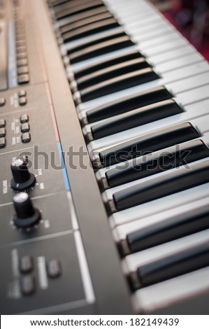 Music Synthesizer closeup. keyboard and controls